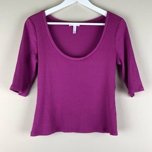 LEITH Purple Ribbed Half Sleeve Top Scoop Neck L